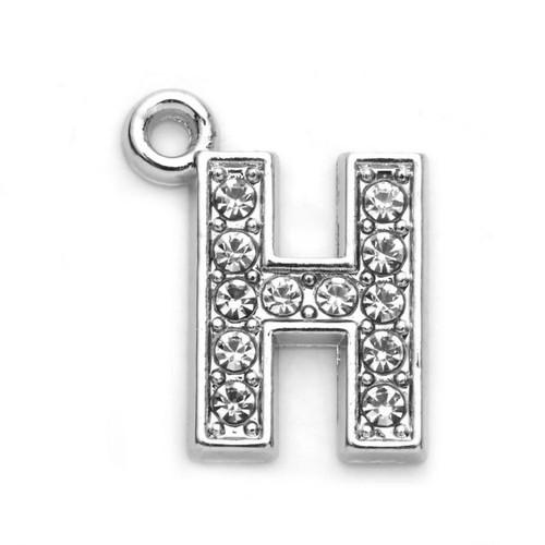 Rhinestone Letter Charm H