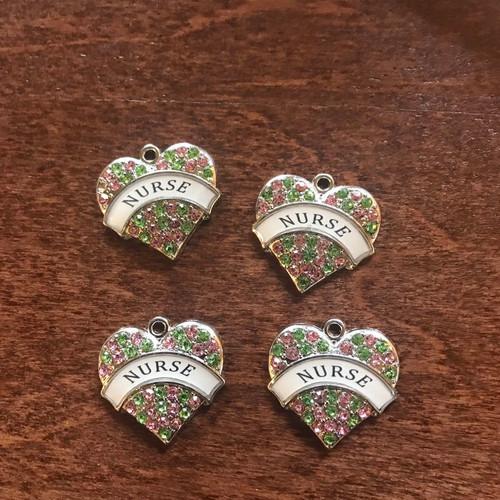 Rhinestone Heart Charm, Nurse