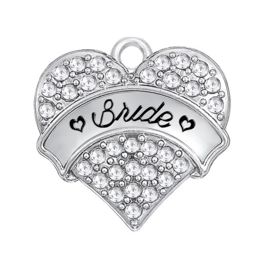 Rhinestone Heart Charm, Bride