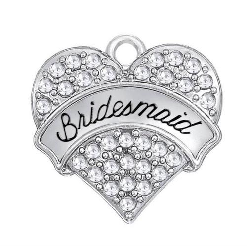 Rhinestone Heart Charm, Bridesmaid