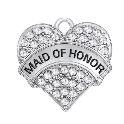 Rhinestone Heart Charm, Maid of Honor