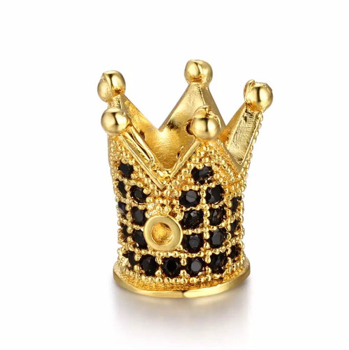 Crown Bead, Gold with Black CZ