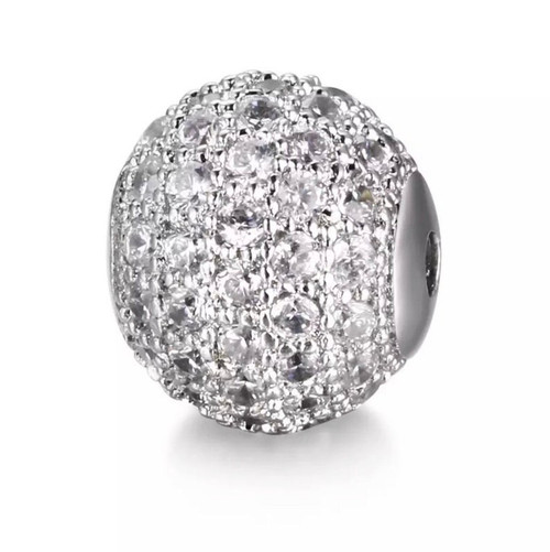 10mm Round Bead, Platinum with Clear CZ