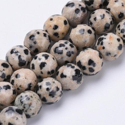 Dalmatian Jasper, Faceted Round, 10mm