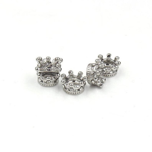 Small Crown Bead, Platinum with Black CZ