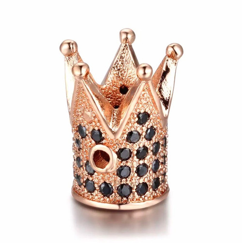 Crown Bead, Rose Gold with Black CZ