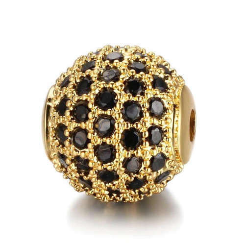 Cubic Zirconia Bead, Round, Gold with Black, 10mm