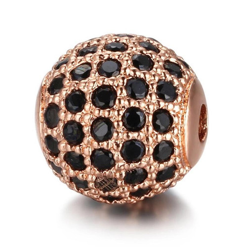 Cubic Zirconia Bead, Round, Rose Gold with Black , 10mm