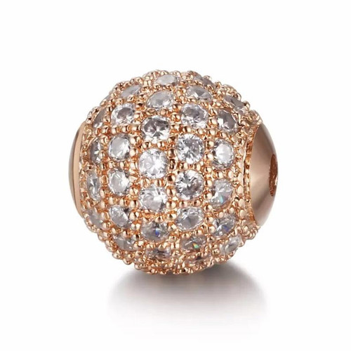 Cubic Zirconia Bead, Round, Rose Gold with Clear, 10mm