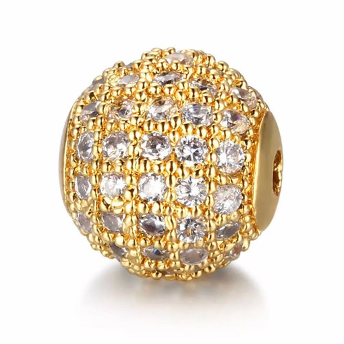 10mm Round Bead, Gold with Clear CZ