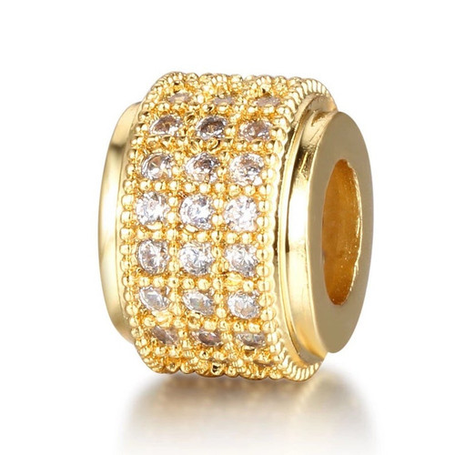 Short Barrel Bead, Gold with Clear CZ