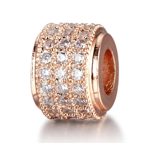 Short Barrel Bead, Rose Gold with Clear CZ