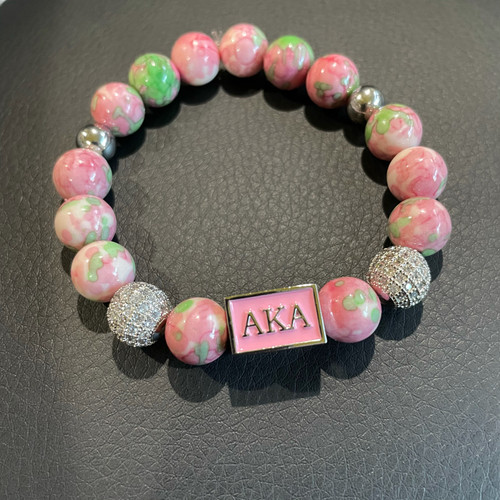 Alpha Kappa Alpha Bracelet with focal bead