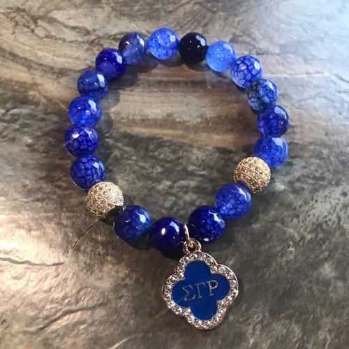 Sigma Gamma Rho Bracelet with Clover charm