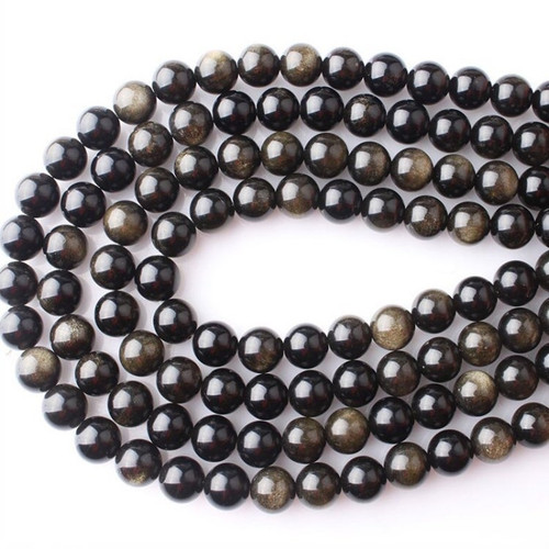 Gold Obsidian Beads, ROUND 10mm - 15 inch strand