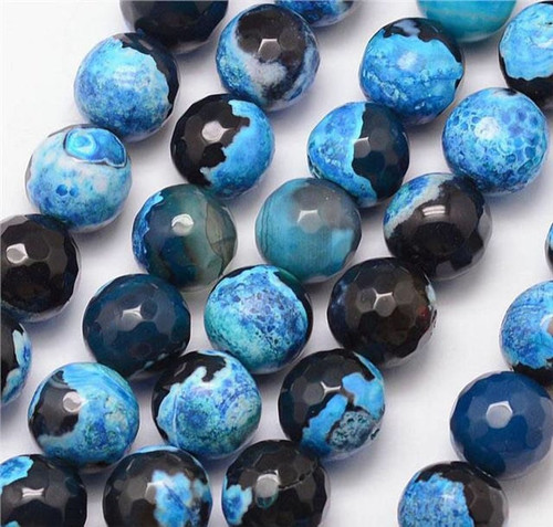 Fire Agate, Black and Sky Blue, Faceted Round 10mm
