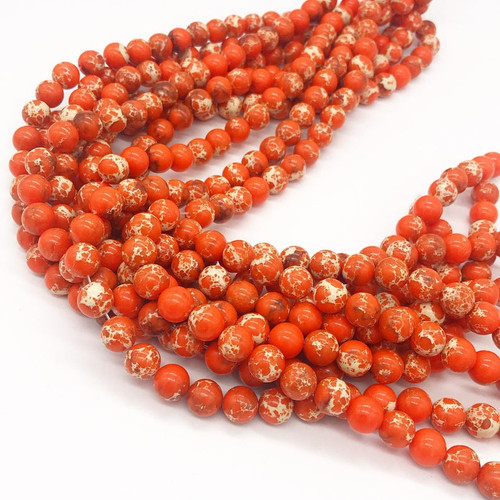 Orange Sea Sediment Jasper Beads, 10mm - 15 inch strand