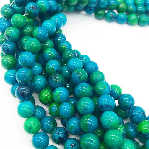 Chrysocolla Beads, 10mm - 15 inch strand