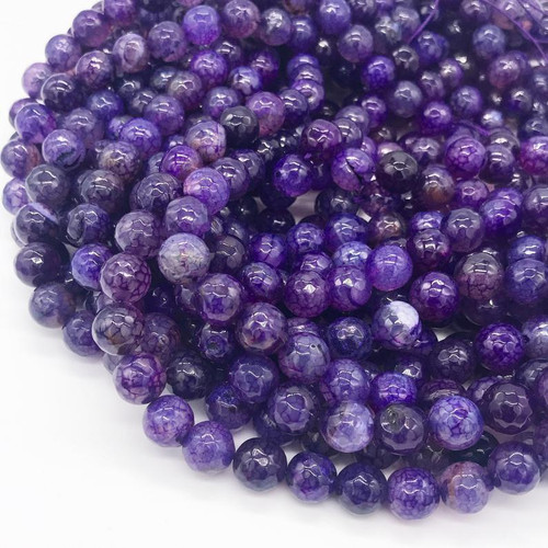 Dragon Veins Agate Beads, Purple, 10mm