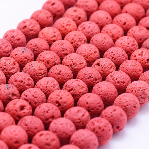 Lava Rock Beads, Red, 10mm