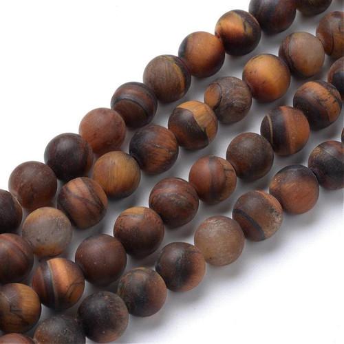 Matte Tiger Eye Beads, 10mm