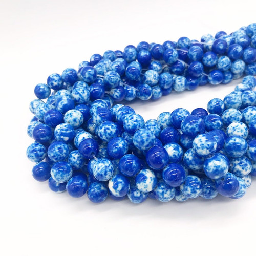 Blue and White Jade Beads, Splatter, Round, 10mm