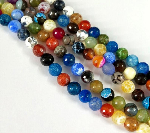 Multicolor Agate, Faceted Round 10mm