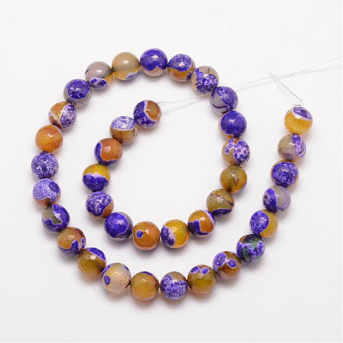 Fire Agate,Purple and Yellow, Faceted Round 10mm