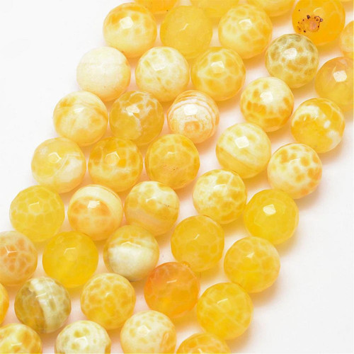 Fire Agate Beads, Yellow, 10mm