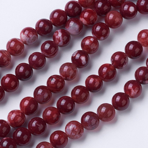 Agate Beads, Dark Red and White, 10mm