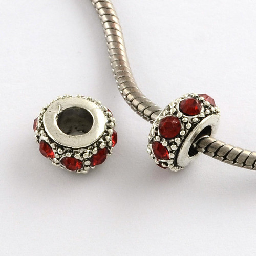 European Large hole beads Silver, red rhinestone, 13mm x 6.5mm