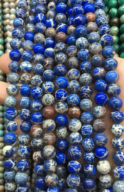 Blue Sea Sediment Jasper Beads, 10mm - 15 inch strand