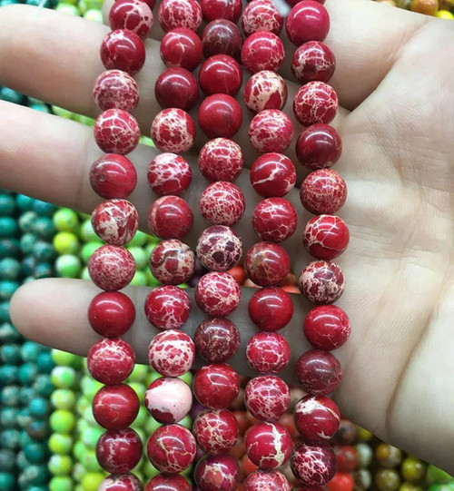 Red Sea Sediment Jasper Beads, 10mm - 15 inch strand
