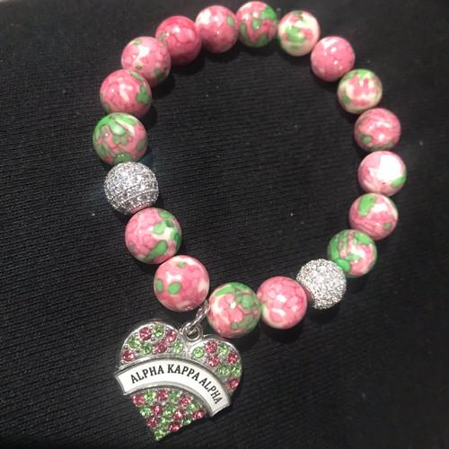 Alpha Kappa Alpha Bracelet with heart charm