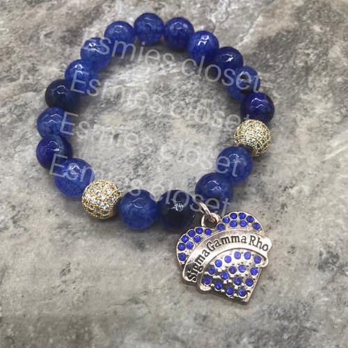 Sigma Gamma Rho Bracelet with heart charm