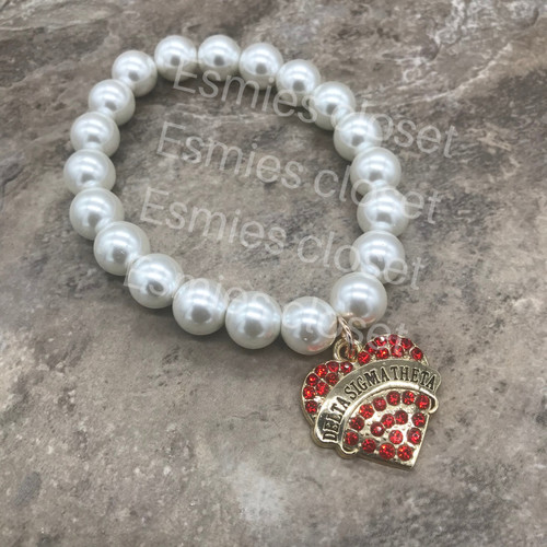 Delta Sigma Theta Bracelet with heart charm