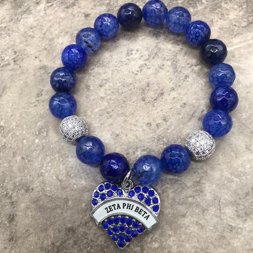 Zeta Phi Beta Bracelet with heart charm