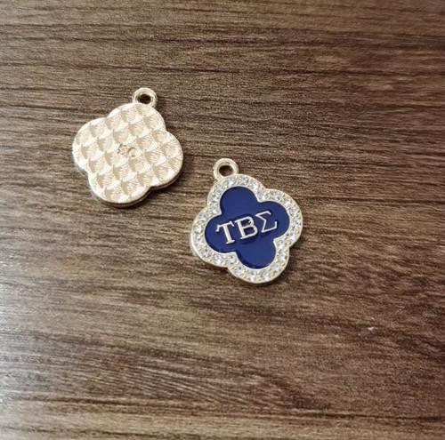 Tau Beta Sigma Rhinestone Clover Charm