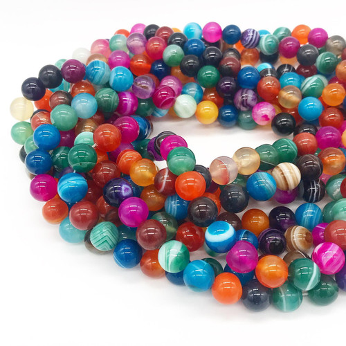 Multicolor Agate, Striped, Round 10mm