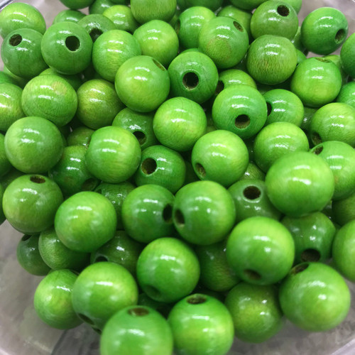 Green Wood Beads, Round, 10mm, 100 pcs