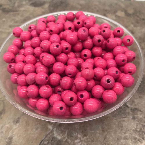 Pink Wood Beads, Round, 8mm, 100 pcs