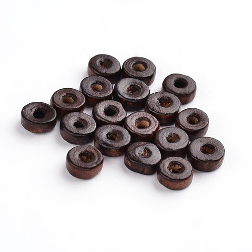 Brown Wood Beads, TUBE, 6mm x 3.5mm, 100 pcs