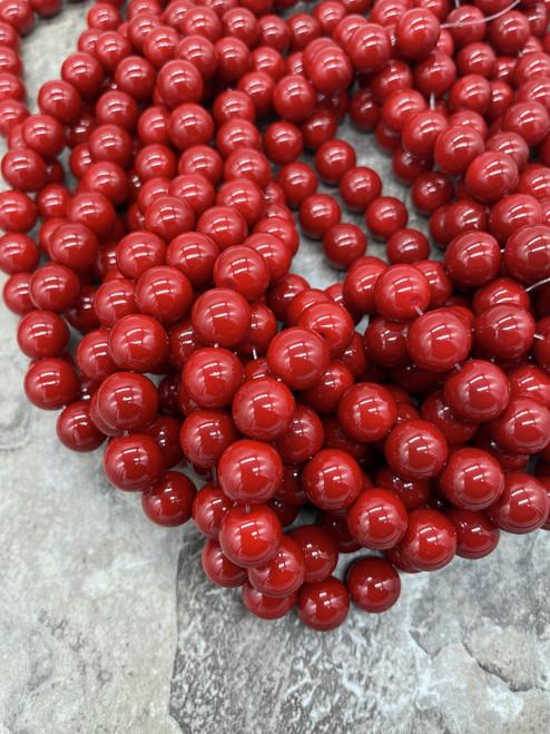 Glass Beads, Cherry  Red, Round,  10mm
