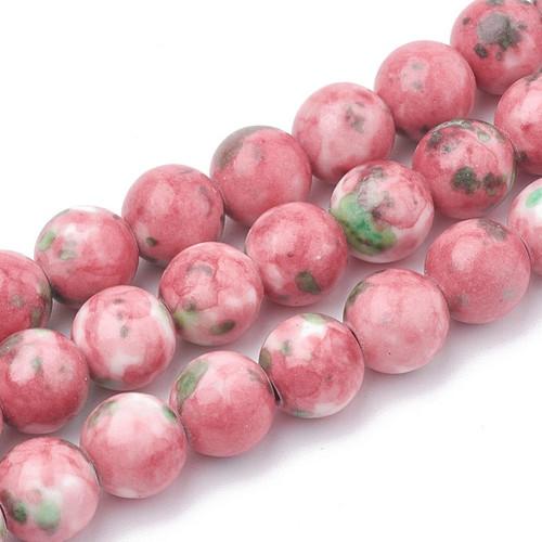 Pink and Green Jade Beads, Splatter, Round, 12mm