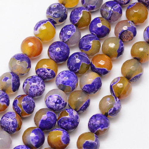 Fire Agate, Yellow  and Purple, Faceted Round 10mm
