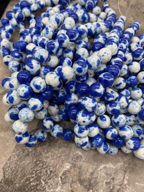 Royal Blue and White Jade Beads, Splatter, Round, 10mm