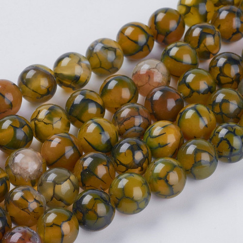 Dragon Veins Agate Beads, Olive, 10mm
