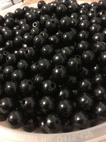Black Wood Beads, Round, 10mm, 100 pcs