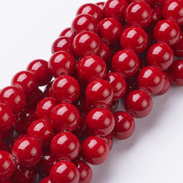 Red Mountain Jade Beads, Round, 8mm