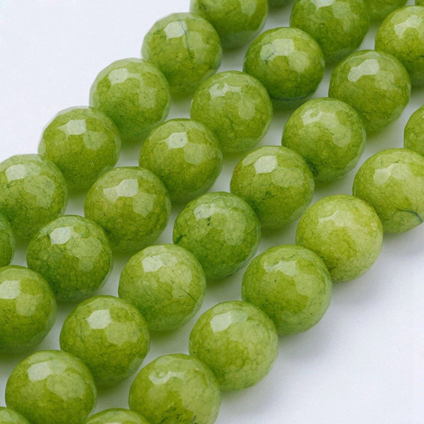 Olive Green Mountain Jade Beads, Faceted Round, 10mm